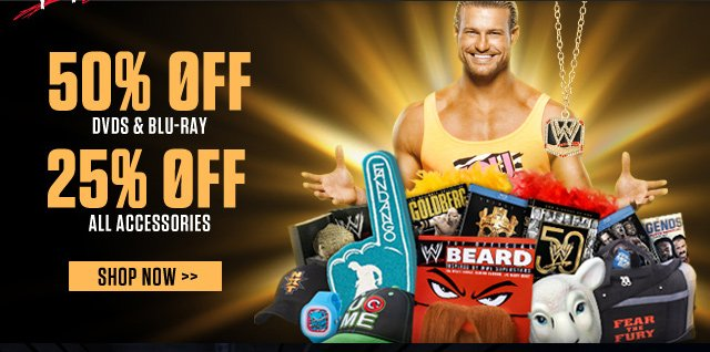 Get 50% off DVDs & 25% off Accessories Now!
