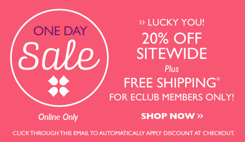 one day sale 20% off sitewide