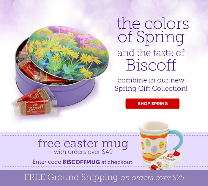 the colors of Spring and the taste of Biscoff combine in our new Spring Gift Collection! FREE Easter mug with orders over $49 - Enter code BISCOFFMUG at checkout - FREE GROUND Shipping on orders over $75