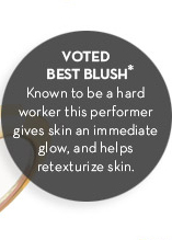 VOTED BEST BLUSH.* Known to be a hard worker this performer gives skin an immediate glow, and helps retexturize skin.