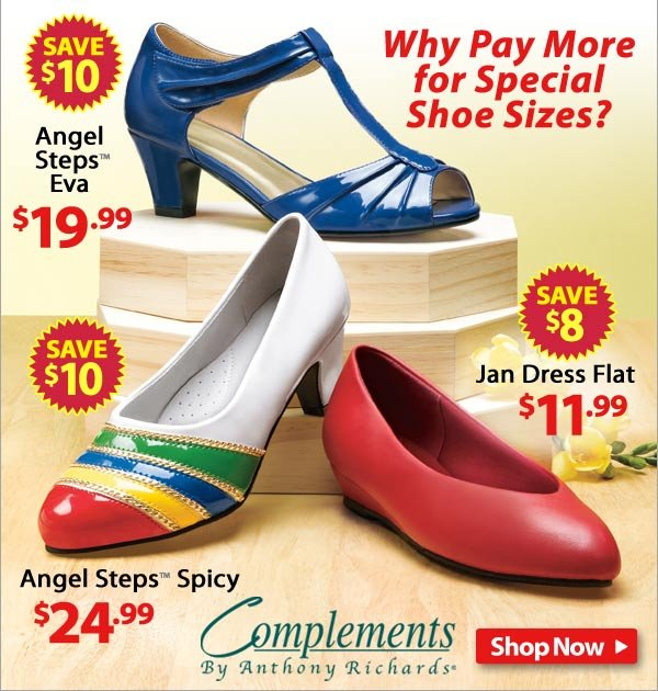 Why pay more for special shoe sizes? Check out these 3 styles! - Shop Now >>