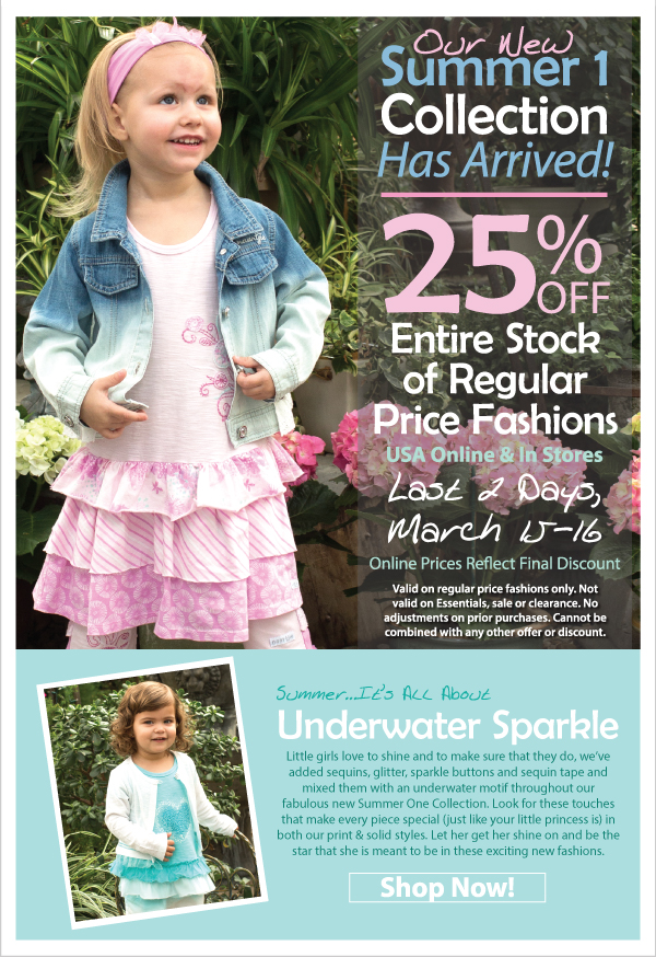 Last 2 Days! 25% Off All Regular Price Fashions - Summer 1 Is Here...Underwater Sparkle - Sequins, Glitter & Shine, Oh My!