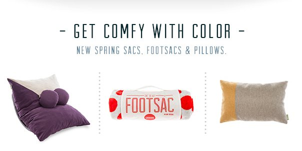 Get Comfy With Color - New Spring Sacs, Footsacs, and Pillows!