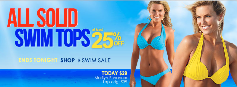LAST DAY - get 25% (or MORE!) OFF All Solid Swim Tops!