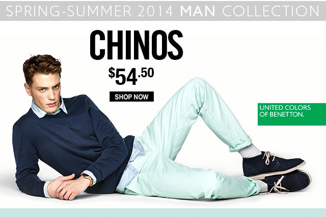 Clean and simple style for Men. The Chino, just $54.50.