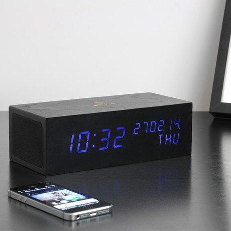 Music Click Clock Black // Blue LED