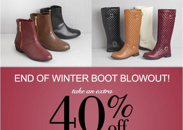End of Winter boot Blowout! Extra 40% off all boots from a special selection! Use RDBOOTS