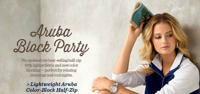 Lightweight Aruba Color-Block Half-Zip
