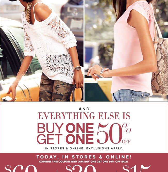 Everything  Else is Buy One, Get One 50% Off!