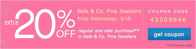 Extra 20% off Fine Jewelry. Get coupon.