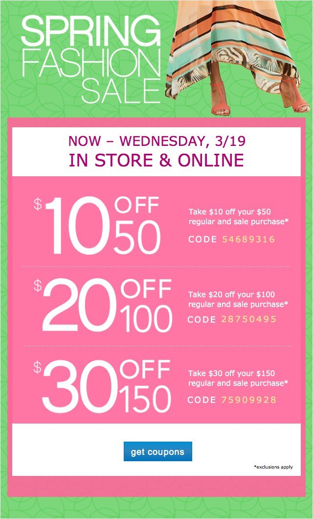 Extra 10 off $50, 20 off $100 or $30 off 150. Get coupon.