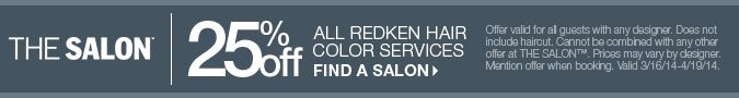 25% off all Redken Hair Color