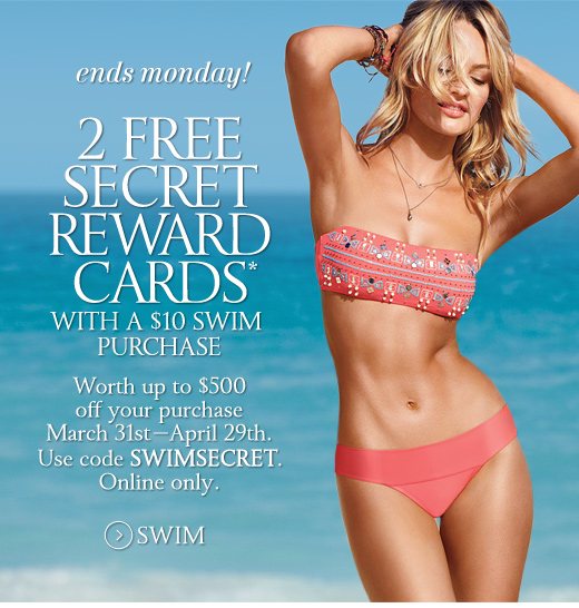 2 Secret Reward Cards With A $10 Swim Purchase
