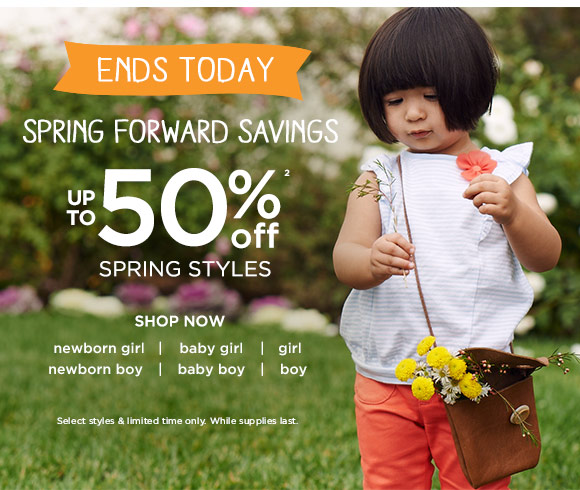 Ends Today. Spring Forward Savings. Up To 50% Off(2) Spring Styles. Shop Now. Select styles & limited time only. Prices reflect discount. While supplies last.