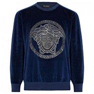 VERSACE - Leather appliqué velour sweatshirt