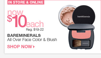 TODAY ONLY! bareMinerals All Over Face Color & Blush $10 each > Shop Now