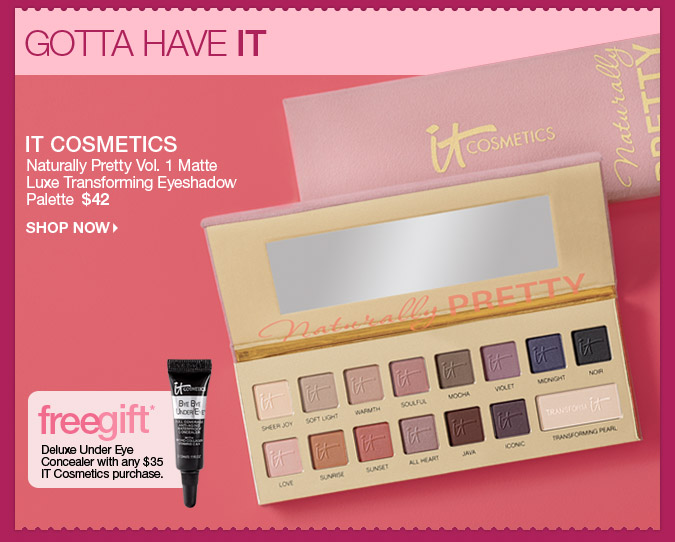 It Cosmetics Naturally Pretty Vol. 1 Matte Luxe Transforming Eyeshadow Palette  $42 > Shop Now