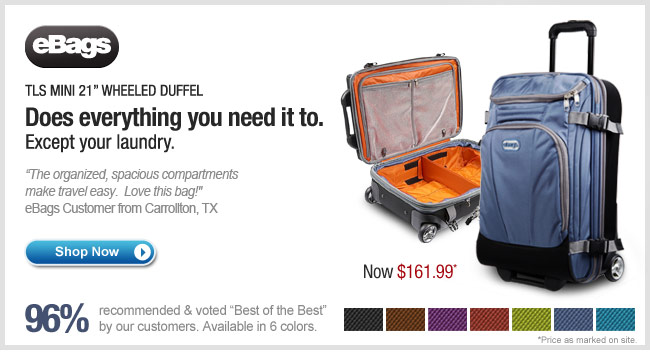 "eBags TLS Mini 21"" Wheeled Duffel. Shop Now."