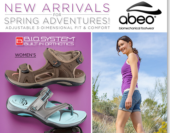 Perfect for your spring adventures, shop the NEW ABEO B.I.O.system sandal arrivals featuring the 'invisible comfort' of built-in orthotics. Find styles with adjustable straps, rugged outsoles and durable uppers for women and men. Shop now for the best selection online and in stores at The Walking Company.