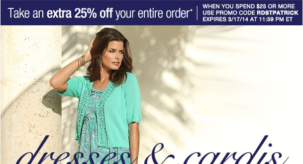 Extra 25% off your entire order when you spend $25 or more! Use RDSTPATRICK