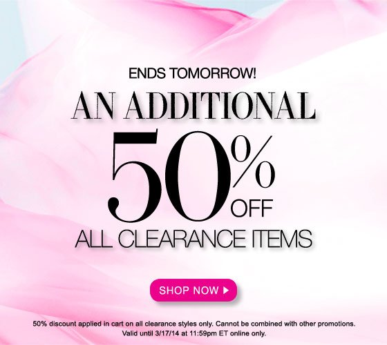 An Additional 50% Off All Clearance Items