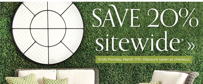 Save 20% sitewide. Ends Monday, March 17th. Discount taken at checkout