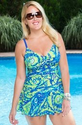 Women's Plus Size Swimwear - Always For Me Chic Prints Santa Cruz Swim Mini