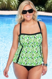Women's Plus Size Swimwear - Always For Me In Control - Scroll 2 Piece  Tankini w/ Brief
