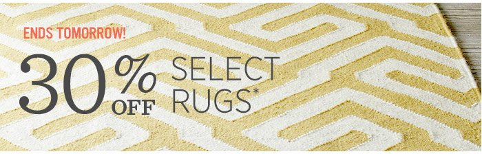 Ends tomorrow! 30% Select Rugs*