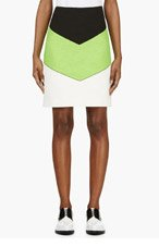 CARVEN Lime colorblocked boucé skirt for women