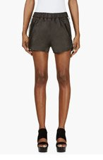 ACNE STUDIOS Black Leather High-Waisted Maia Shorts for women