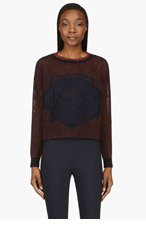 STELLA MCCARTNEY Navy & Rust Lace Intarsia Cropped Sweater for women