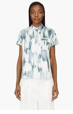ACNE STUDIOS White & Teal Silk Rogue Blouse for women