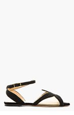 CHARLOTTE OLYMPIA Black Beaded Suede Starfish Caviar Sandy Sandals for women