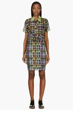 CARVEN Green & Purple Madras Print Dress for women