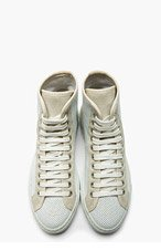 WOMAN BY COMMON PROJECTS SSENSE EXCLUSIVE White Tournament Perforated High Top Sneaker for women