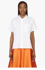 CARVEN White Cut-Out Collar Blouse for women