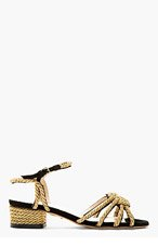 CHARLOTTE OLYMPIA BLACK & GOLD It's Knot You, It's Me Heels for women