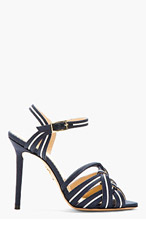 CHARLOTTE OLYMPIA Navy Cotton & Leather Admiral Heels for women