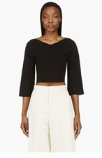 STELLA MCCARTNEY Black Stretch Knit Cropped Sweater for women