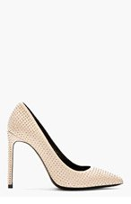 SAINT LAURENT Nude Leather Studded Pointed Pumps for women