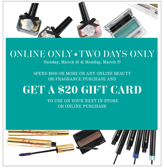 Online Only, Two Days Only. Get a $20 Gift Card.