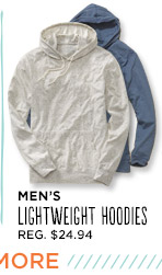 MEN'S LIGHTWEIGHT HOODIES REG. $24.94