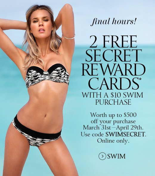 Final Hours! 2 Free Secret Reward Cards With A $10 Swim Purchase