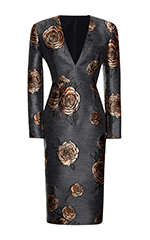 Printed Rose Long Sleeve Sheath Dress