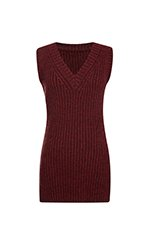 Bordeaux Ribbed Cashmere V Neck