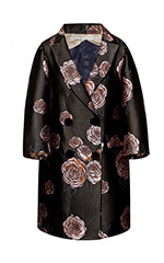 Oversize Graphic Rose Coat
