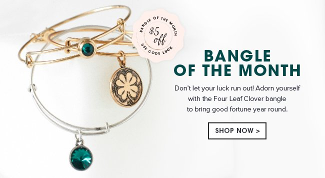 Don't let your luck run out! Adorn yourself with the Four Leaf Clover bangle to bring good fortune year round. Shop now.