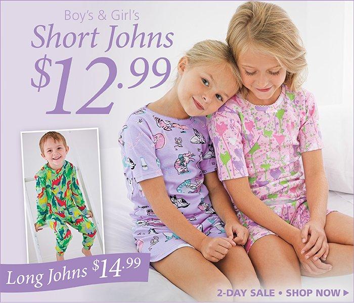 2-Day Sale, Short Johns for $12.99, Long Johns for $14.99