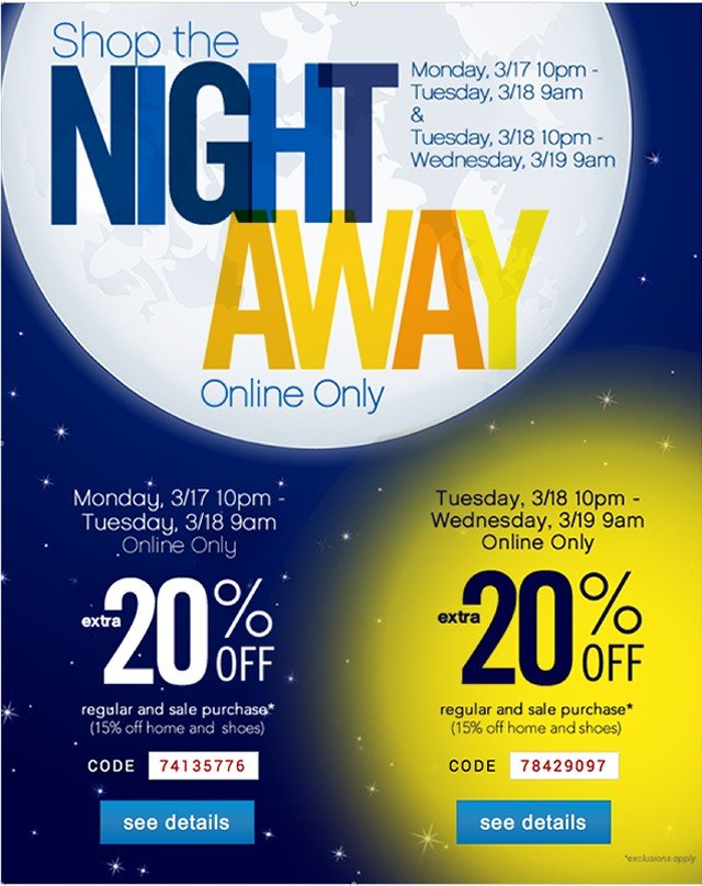 Shop the Night Away. Extra 20% off. See details.